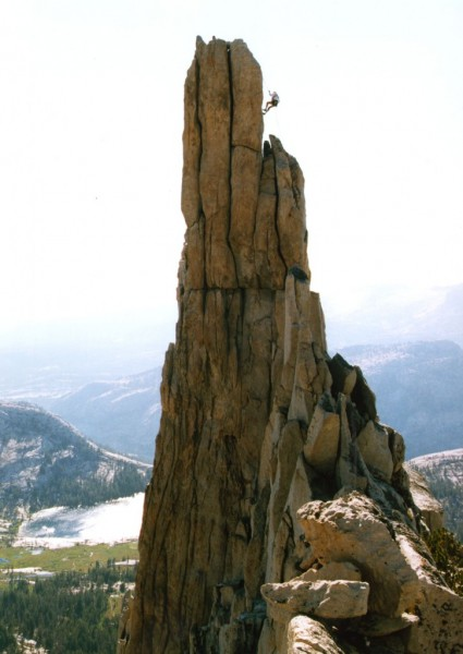 RD Caughron rappelling from Eichorn's Pinnacle, Cathedral Peak.