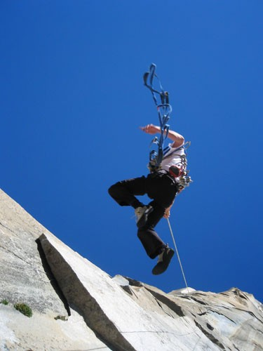 Chris McNamara on the King Swing pitch of the Nose.