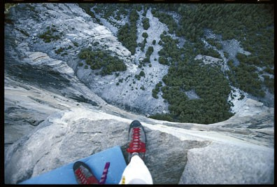 Looking over Peanut Ledge (belay 13) with BIG exposure to the deck.