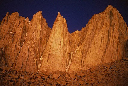 From left to right: Day Needle, Keeler Needle, and Mt. Whitney.