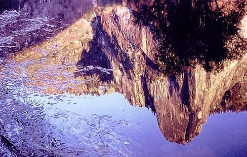 My dad took this picture of Sentinel Rock reflecting in a pond.