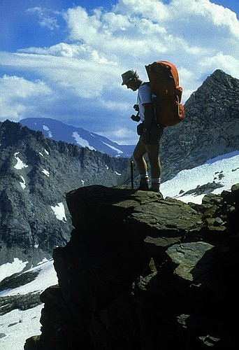 My dad, Jim Langford, on the NW ridge of Sawtooth Peak in 1985.
