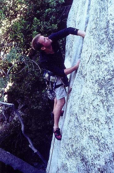 Chris Greevers just above the low crux.