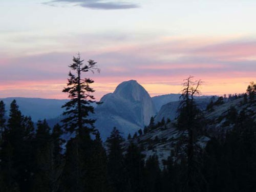 Half Dome sunset view from Olmstead Point in Tuolumne.