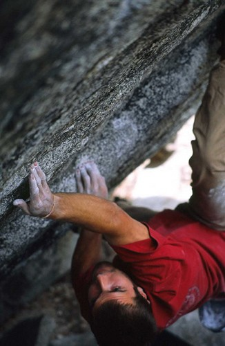 Chris Sharma on the first ascent of Thunderbird (V11/12) at the Puppy ...