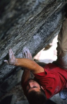 Chris Sharma on the first ascent of Thunderbird (V11/12) at th...