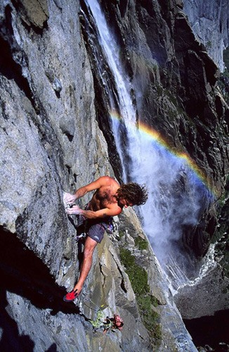 Sean Jones on Persephone Butterfly (5.11d), Ribbon Falls.