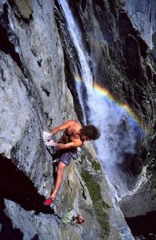 Sean Jones on Persephone Butterfly (5.11d), Ribbon Falls.