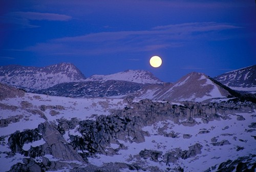Moonrise from the summit of Cathedral Peak.