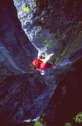 Sean Jones on the stunning arête of Close to the Edge (5.12c),...