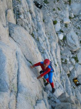 Spiderman on the first pitch of the red dihedral route.