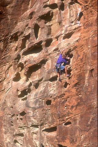 Tony Sartin climbing in the Calico Hills.