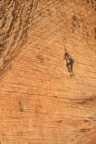 Dan McQuade, face climbing in the Calico Hills