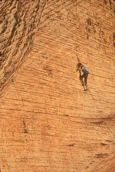 Dan McQuade, face climbing in the Calico Hills