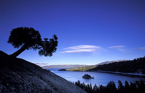 Looking out at Lake Tahoe from Eagle Creek Canyon.
