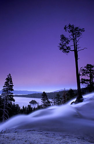 Look across Eagle Creek at sunset. Many of Tahoe's most classic crack ...
