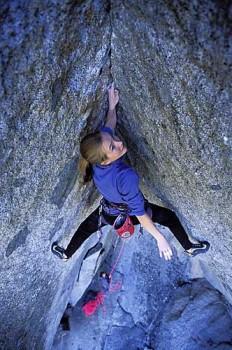Beth Rodden working through the relentless stemming and fingerlocks on...