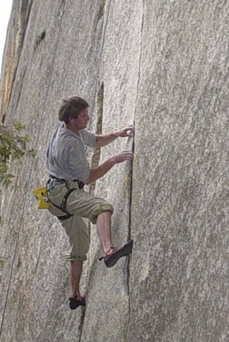 Ivo Ninov working through the low crux of the route.