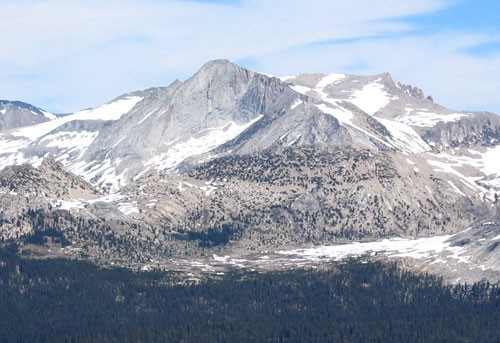 The Southwest Face of Mt. Conness as seen from Cathedral Peak in early...