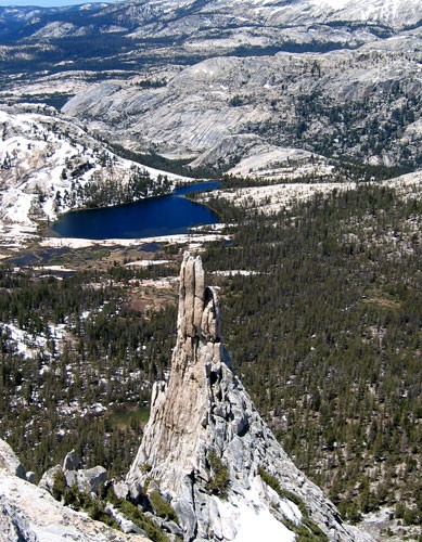 Eichorn Pinnacle as seen from the summit of Cathedral Peak in early Ju...