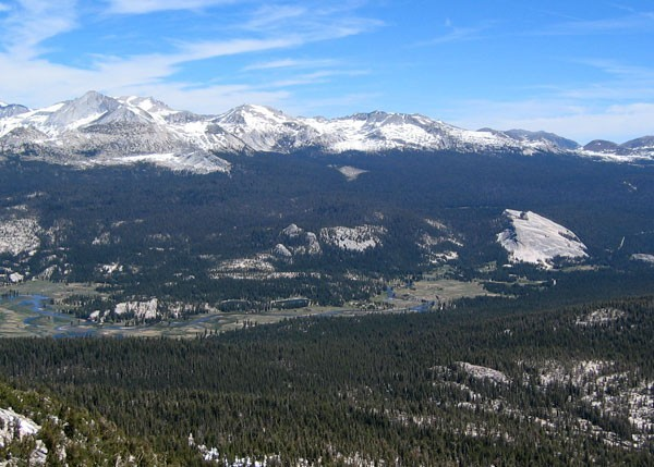 Tuolumne Meadows with the Southwest Face of Mt. Conness on the left as...