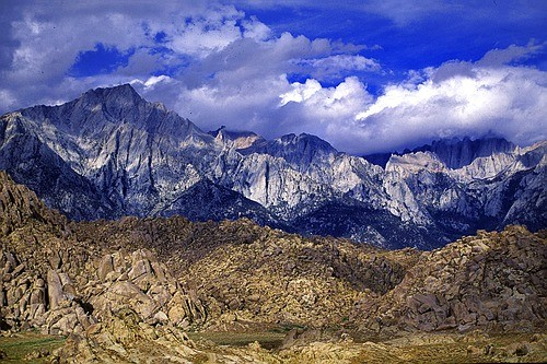 Lone Pine Peak above the Alabama Hills with Mt. Whitney rising into th...