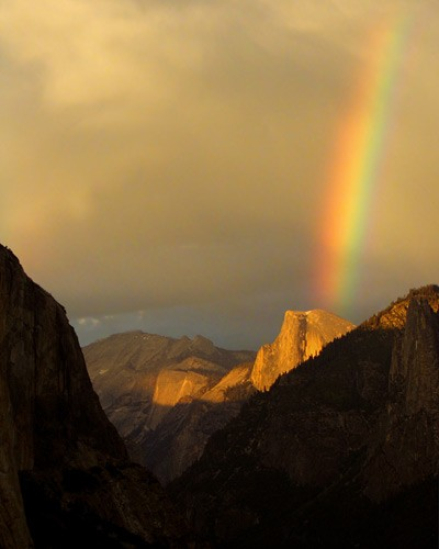 Rainbow sunset over Half Dome