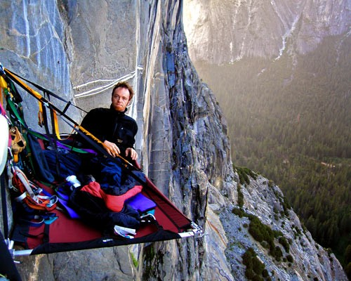 Brett at portaledge bivy on Zodiac, El Capitan