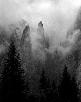 Cathedral Spires in Clouds Black and White