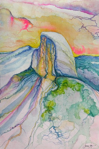 Half Dome Watercolor by Susan Joy, Local Artist