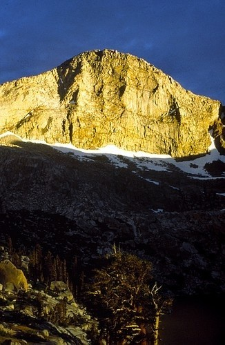 The setting sun hits the dramatic west face of Florence Peak in Sequoi...