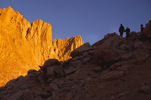 Approaching the east face of Mt. Whitney early in the morning.