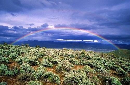A brilliant rainbow arches over the desert on the eastern slope of the...