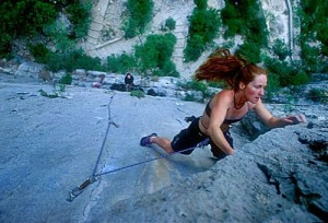 Rachael Mayne cranks over a 5.11d in El Potrero Chico, Mexico.