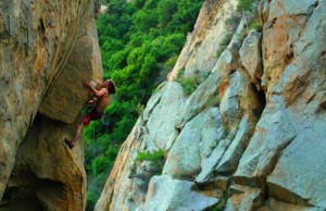 Ben Schildberg experiencing The Trouble With Normal, 5.11c, Santa Barb...