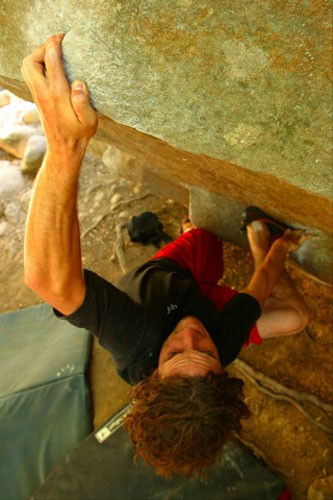 Cranking through a heinous crimp on Mutants Amok, V5, Santa Barbara, C...