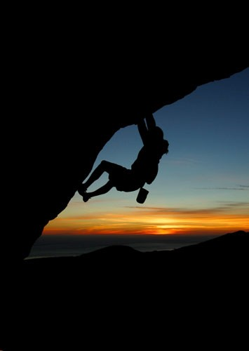 Sunset at the Lizard�s Mouth Traverse, V0, Santa Barbara, Calif.
