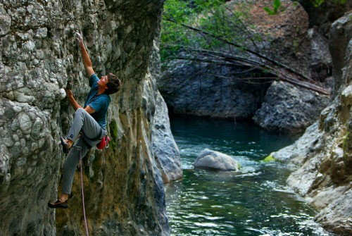 Bernd Zeugswetter, It Is It, 5.12b, Wheeler Gorge, Ojai, Calif.