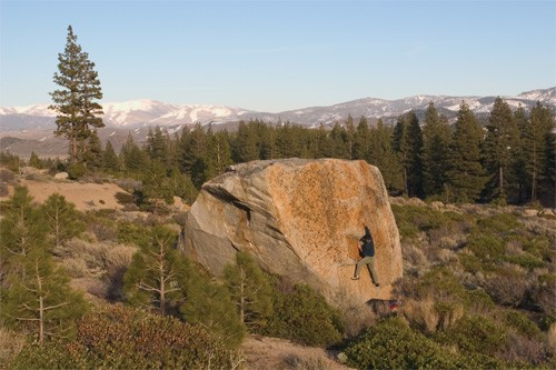 Chris Ewing on the Momma Cat boulder off Highway 88 at Woodfords.