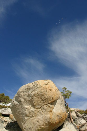 Six birds pass over The Strongman Boulder at Flagpole Peak Boulders.