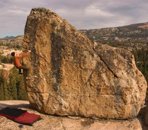Kevin Swift on the Birthday Boulder near Kirkwood.