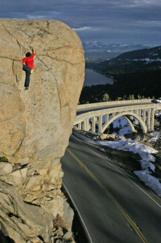 Chris McNamara on a tall problem at the Sun Wall near Donner Summit.