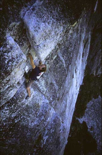 Matt Theilan finishing a solo of The Line, at lovers leap.