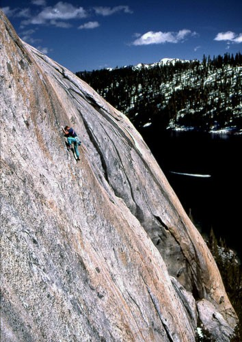 "Al ""Dude"" Swanson on the first ascent of ""Fight Fire With Fire"" 5.11a...."