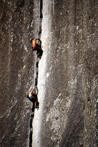 "Rick Cashner and John Bachar soloing ""Reed's Direct"" 5.9. Yosemite 198..."