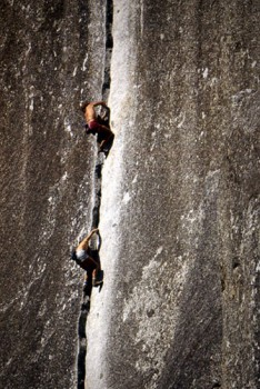 "Rick Cashner and John Bachar soloing ""Reed's Direct"" 5.9. Yosemite 198..."
