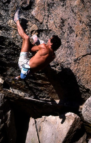 Banny Root bouldering at Echo View Estates, South Lake Tahoe, CA. 1988...