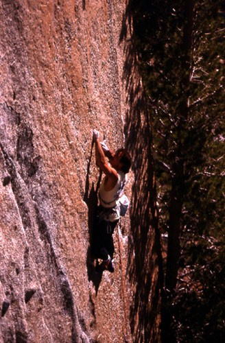 "Jay Smith on ""Hair Trigger"" 5.12b, Echo Lakes, CA, 1990."