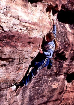 Lynn Hill playing at Willow Springs, Red Rocks, NV, 1981.