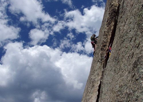 "Errett Allen on the classic ""J Crack"" 5.9. Lumpy Ridge, Colorado. 2005..."